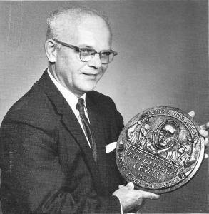 John Laska, designer of the Debs Award plaque with the first version of the plaque, given to John Lewis